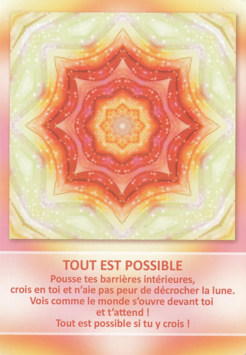 Carte tirée de l'Oracle des Mandalas d'Énergie de Gaby Shayana Hoffmann - Tout est possible - Portail du 7 7 2019