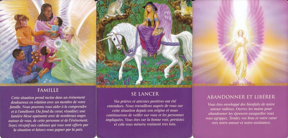 Cartes tirées de L'Oracle des Anges de Doreen Virtue - Famille / Se Lancer / Abandonner et Libérer