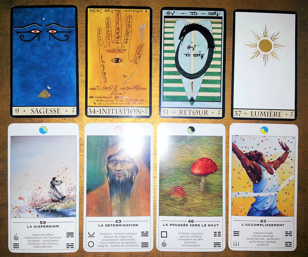 Cartes tirées de L'Oracle de la Triade de Dominike Duplaa et de L'Oracle TAO, L'Oracle des Transformations de Ma Deva Padma