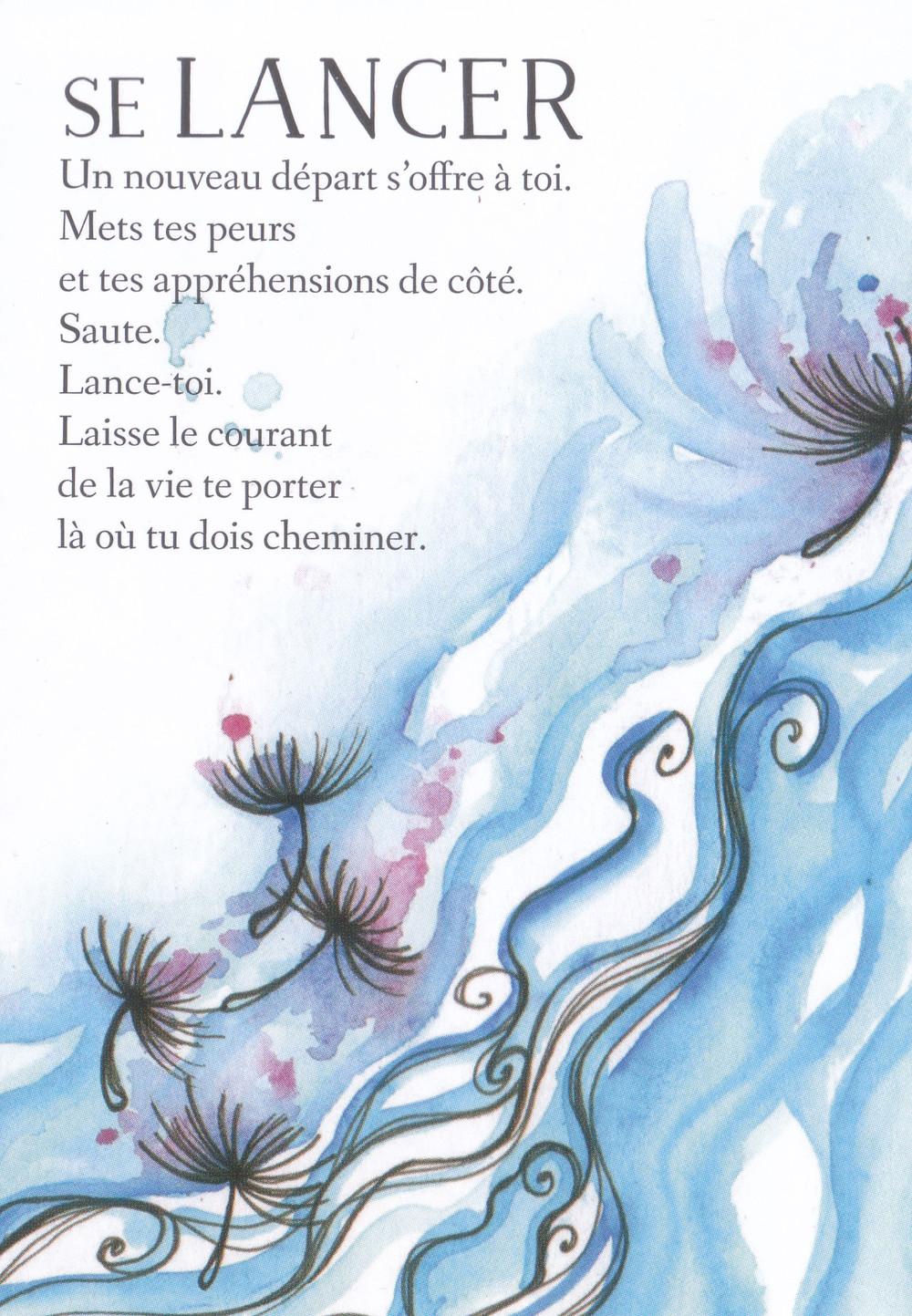 Carte de L'Oracle des messages de ton âme, de Charlotte Daynes - Se Lancer -  Conseils pour le 27-30 novembre (Portail du 29-11, Pleine Lune-Éclipse du 30) : Être Présent à Soi