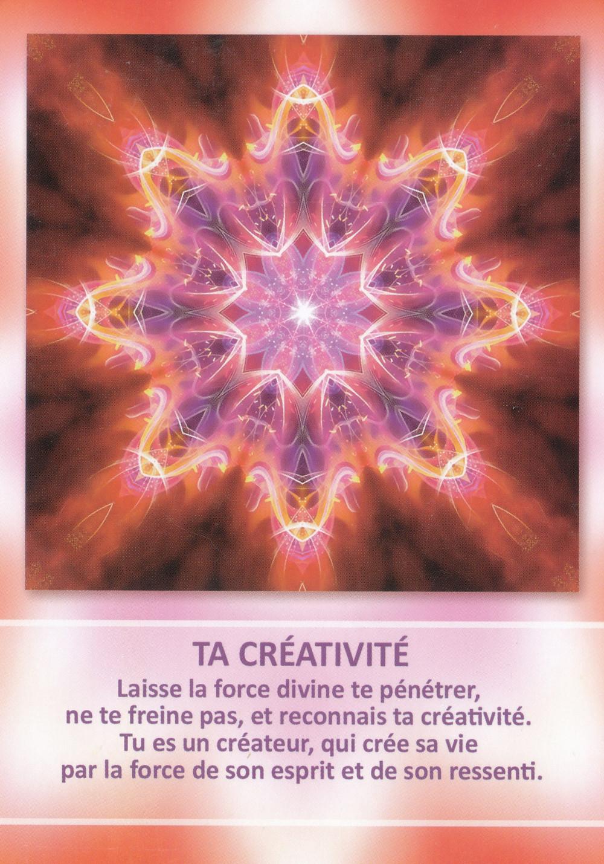 Carte tirée de L'Oracle des Mandalas d'Énergie de Gaby Shayana Hoffmann - Ta créativité - Energies du weekend du 27 28 29 septembre (Nouvelle Lune du 28) : à l'écoute du Corps, du Coeur et de l'Esprit