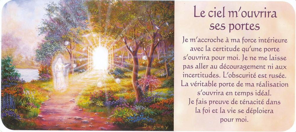 Carte tirée de Messages d'Eveil, de Mario Duguay - Le ciel m'ouvrira ses portes. Force intérieure et Foi