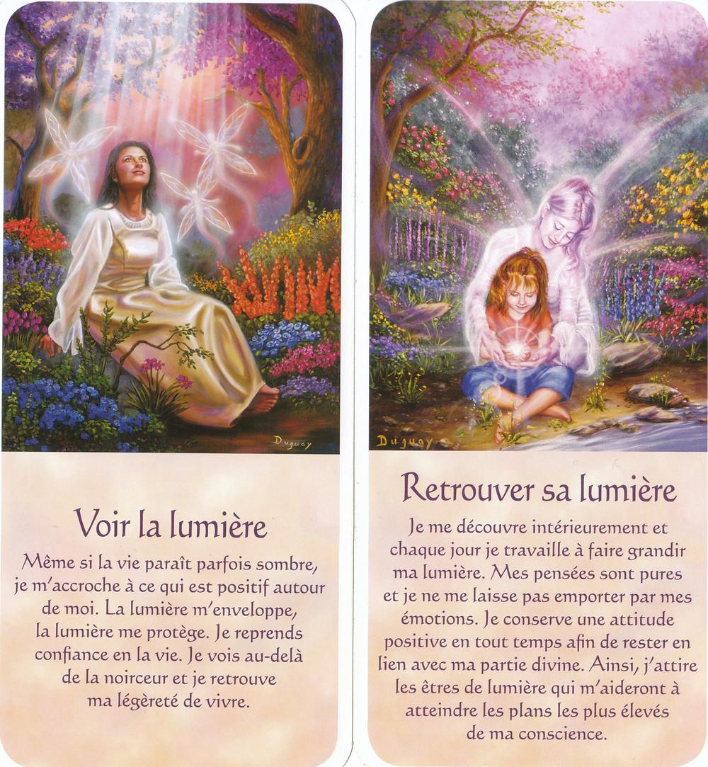 Cartes tirées de Messages d'Eveil, de Mario Duguay : Voir la Lumière, Retrouver sa lumière