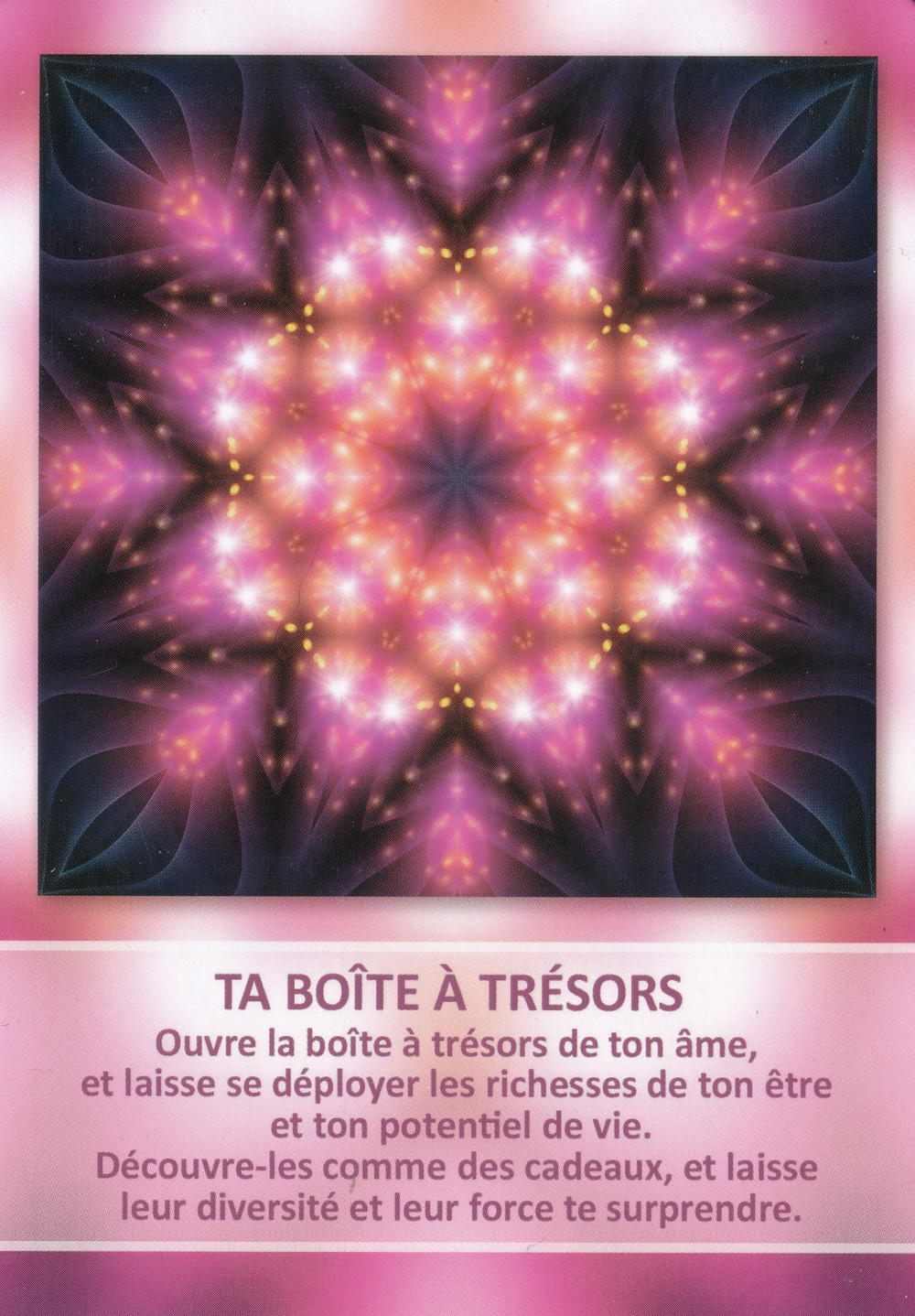 Carte tirée de l'Oracle des Mandalas d'Énergie de Gaby Shayana Hoffmann - Ta boîte à trésors - énergies du 1er au 7 juillet 2019, Nouvelle-Lune éclipse du 2 juillet