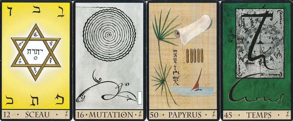 Cartes tirées de L'Oracle de la Triade de Dominike Duplaa - 12 Sceau - 16 Mutation - 50 Papyrus - 45 Temps