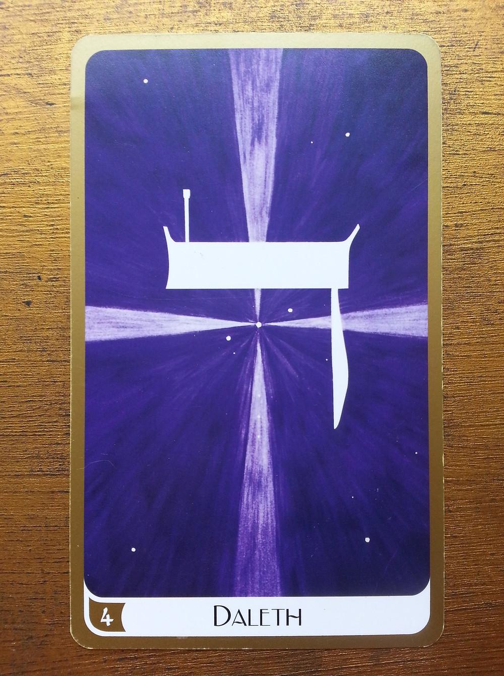Carte tirée du Tarot des Lettres Hébraïques de Marie Elia (carte 4 Daleth)