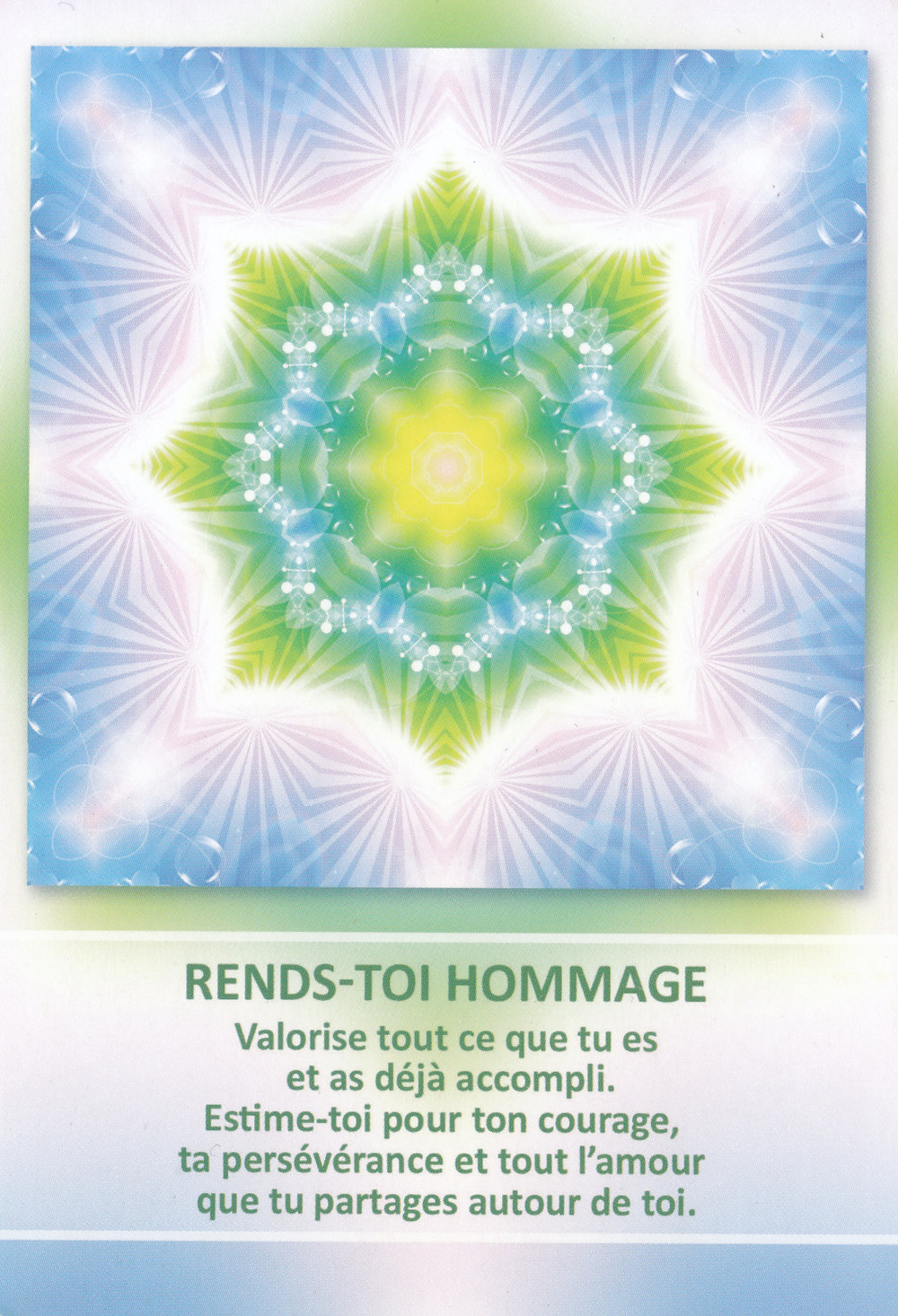 Carte tirée de l'Oracle des Mandalas d'Énergie de Gaby Shayana Hoffmann - Pleine Lune Eclipse Lunaire du 16 juillet - Il est temps de renoncer et de nous Honorer !