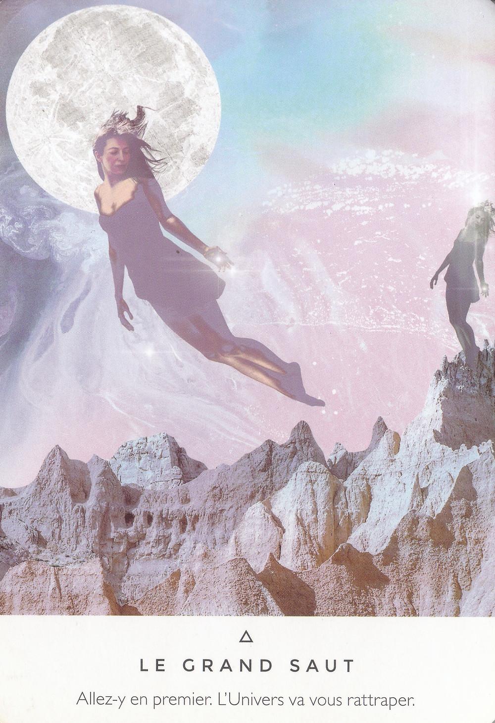 Carte et texte de l'Oracle La voie des Artisans de Lumière de Rebecca Campbell - Conseils pour les jours qui arrivent : Le Grand Saut !