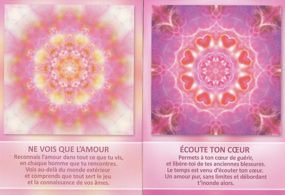 Cartes tirées de L'Oracle des Mandalas d'Énergie de Gaby Shayana Hoffmann - Ne vois que l'Amour - Ecoute ton Cœur - Energies du weekend du 4 - 5 - 6 Octobre 2019 : Voyage au Cœur d'une tempête d'Amour !