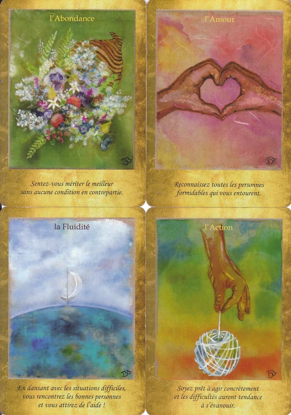 Cartes tirées du Jeu Les Portes de l'Intuition de Vanessa Mielczareck et Brigitte Barberane : L'Abondance, l'Amour, la Fluidité, l'Action