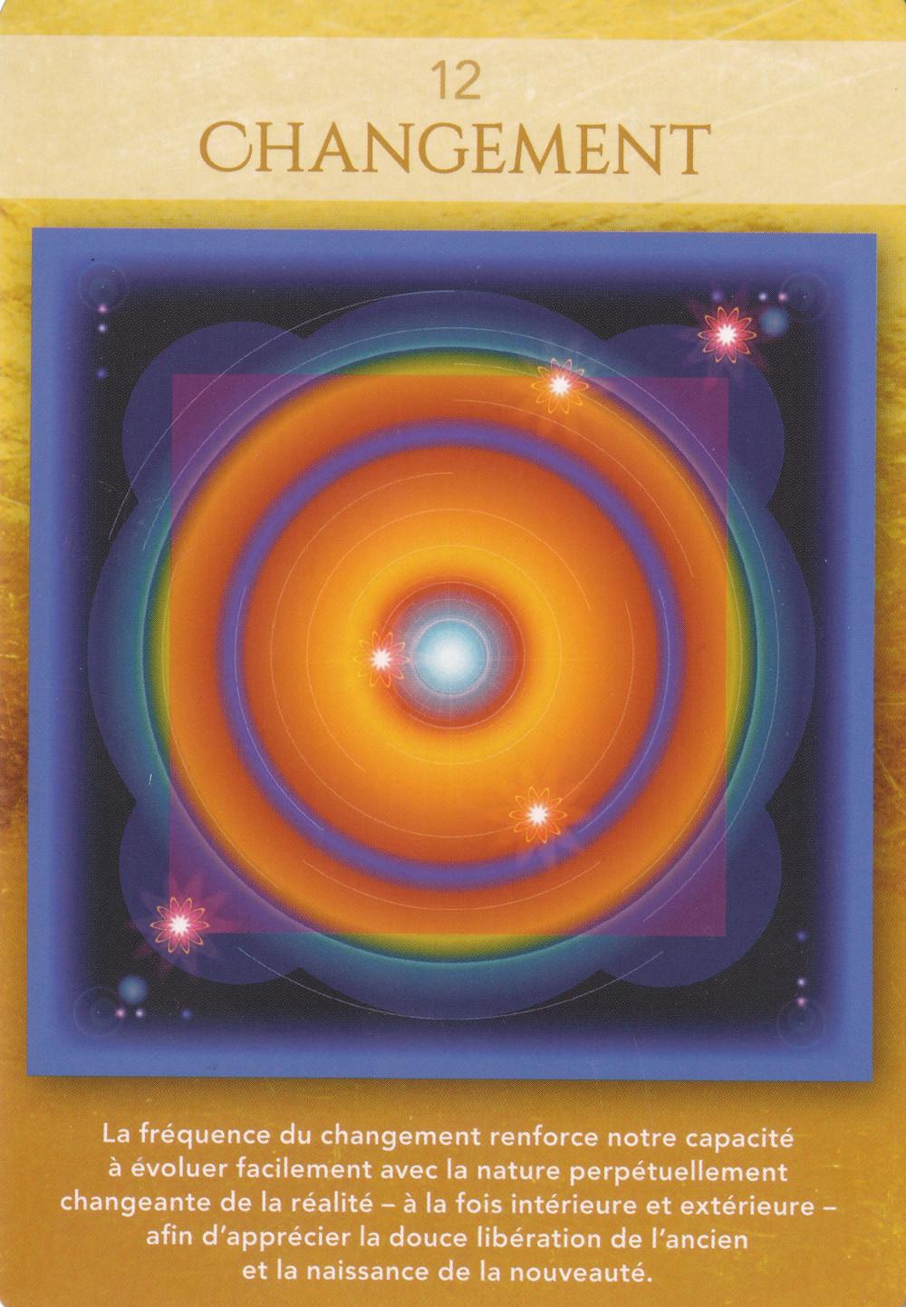 Carte tirée du Jeu Géométrie Sacrée de Lon - 12 Changement. Energies de la semaine du 23 au 29 septembre 2019. Équinoxe d'automne et Nouvelle Lune du 28