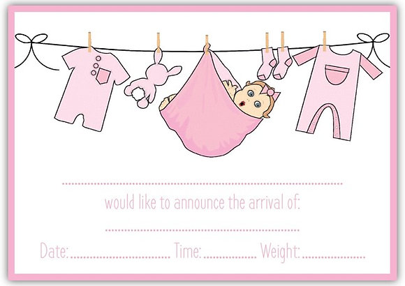 DT18040 Birth Announcement Cards (Girl)