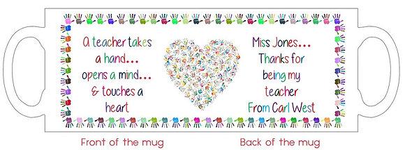 DM005 A Teacher Touches a Heart Mug