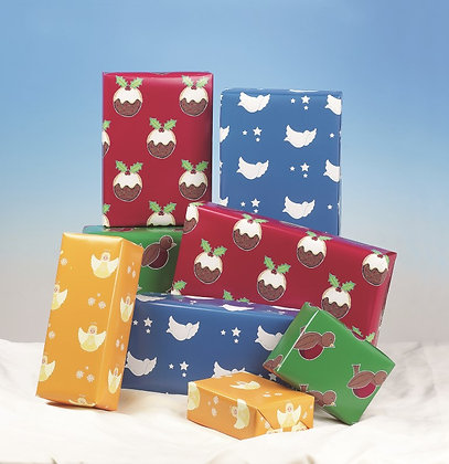 Festive Gift Wrap - 4 Sheets with Matching Tags (T)