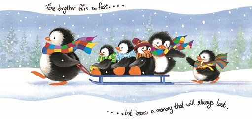 T17167 Penguins on a Sleigh Money Wallet