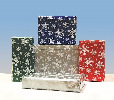 Snowflake Gift Wrap - 4 Sheets with Matching Tag