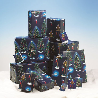 Birdhouse Gift Wrap - 4 Sheets with Matching Tags