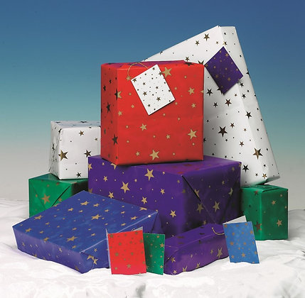 Stars Gift Wrap - 5 Sheets with Matching Tags