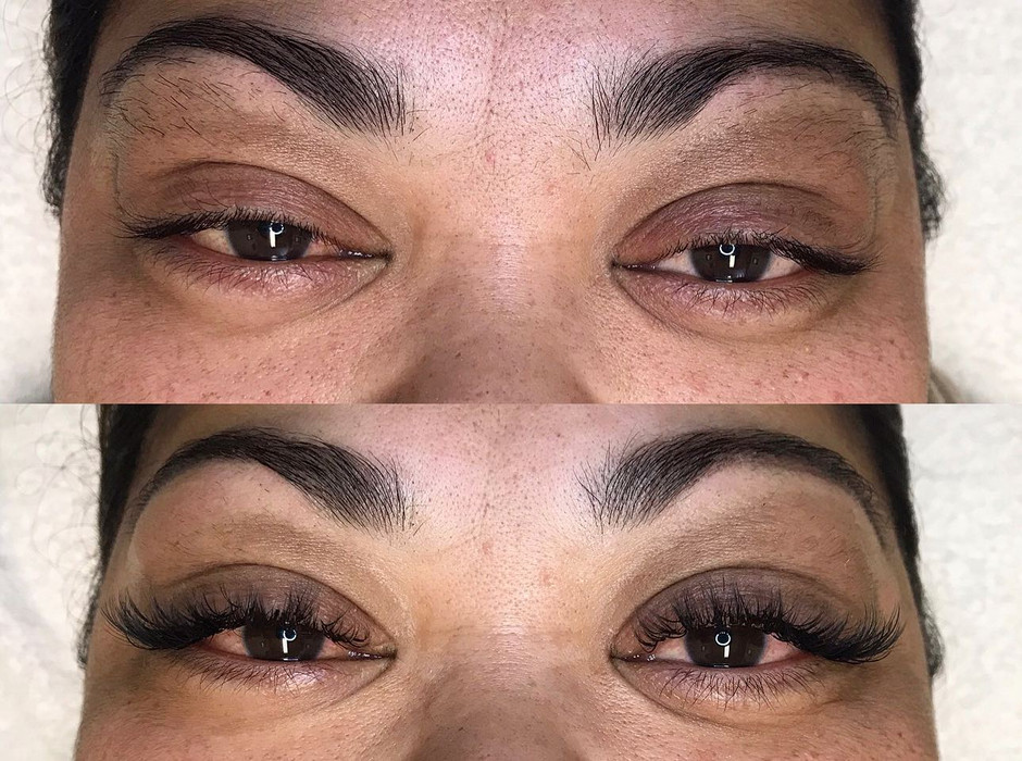 Volume lashes & a brow wax for this beauty!