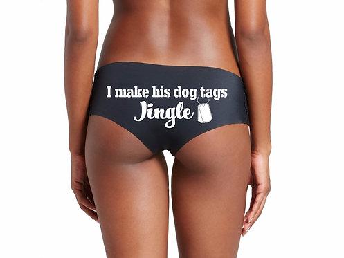 I make his dog tags jingle black hipster panties