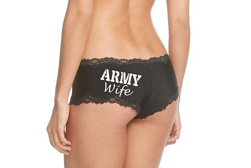 Army Wife Black Cheeky Panties