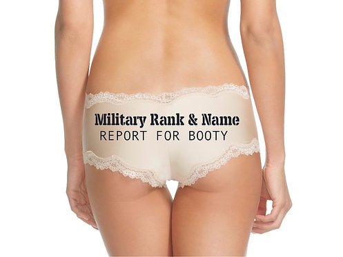 Personalized Military Rank and Name Report For Booty Nude or Black Cheeky Panty