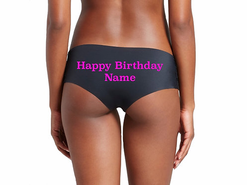 Personalized Happy Birthday black cheeky hipster panties
