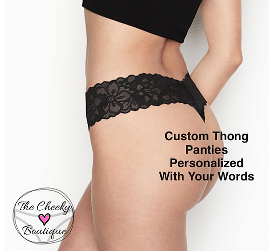 Custom Black Thong Panties Personalized With Your Words