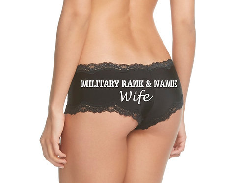 Personalized Military Rank & Name Wife Black Cheeky Panties