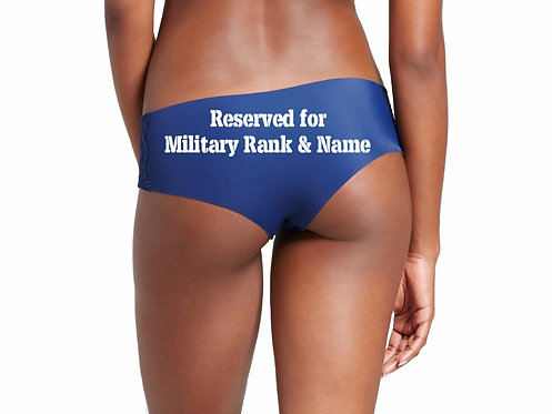 Personalized Reserved for Military Rank & Name Blue Hipster Panties