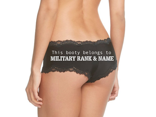 Personalized This booty belongs to Military Rank & Name Black Cheeky Panties