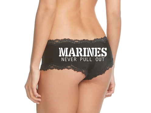 Marines Never Pull Out Black Cheeky Panties