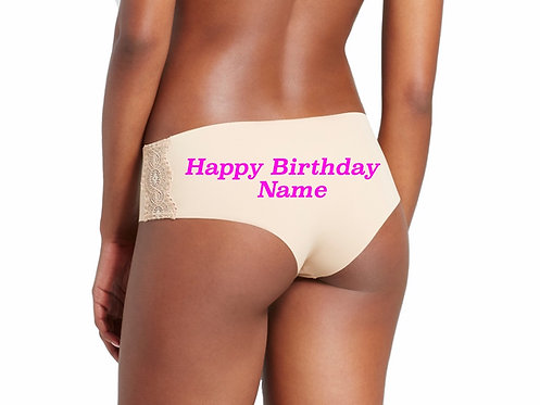Personalized Happy Birthday nude cheeky hipster panties