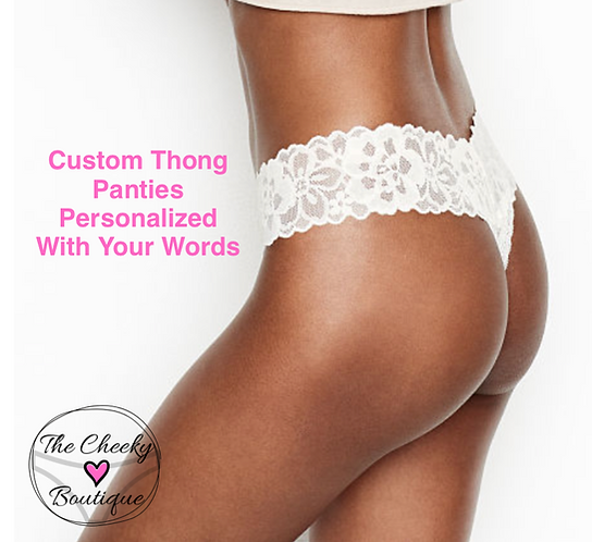 Custom White Thong Panties Personalized With Your Words