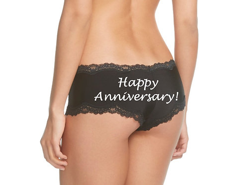 Happy Anniversary black cheeky panty
