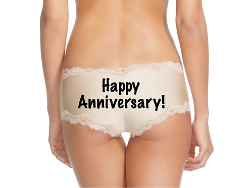 Happy Anniversary nude or black cheeky panty