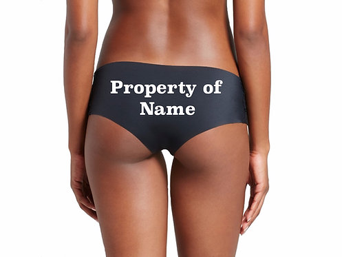 Personalized Property of Name black cheeky hipster panties