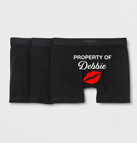 Personalized Property of Men's Black Boxer Briefs