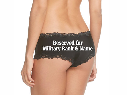 Personalized Reserved for Military Rank & Name Black Cheeky Panty