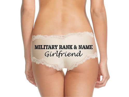Personalized Military Rank & Name Girlfriend Nude or Black Cheeky Panty