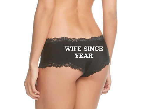 WIFE SINCE {year} black cheeky panty