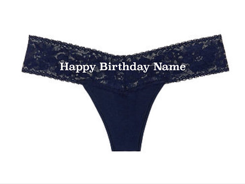 Personalized Happy Birthday Blue Lace Waist Victoria's Secret Thong