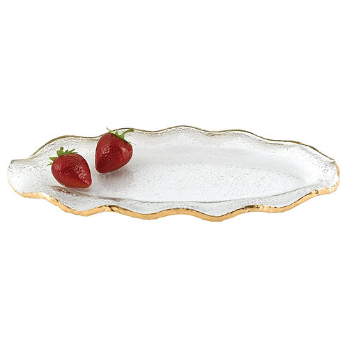"""Gold Hand Decorated 14 x 7"""" Platter."""