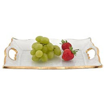 """Hand Decorated Gold Leaf 7 x 11"""" Vanity or Snack Tray"""