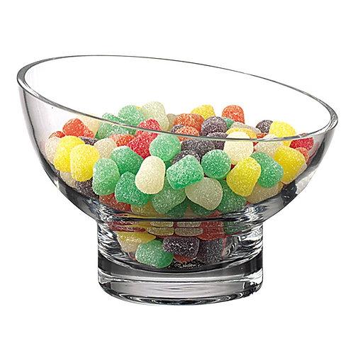 Kira Lead Free Mouth Blown Slant Cut Candy / Serving Bowl