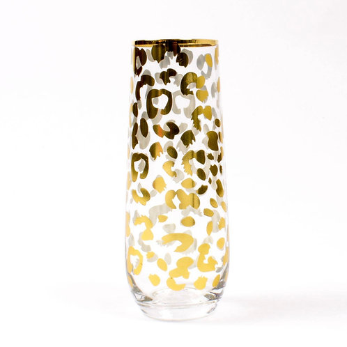Gold Leopard Stemless Champagne Glass