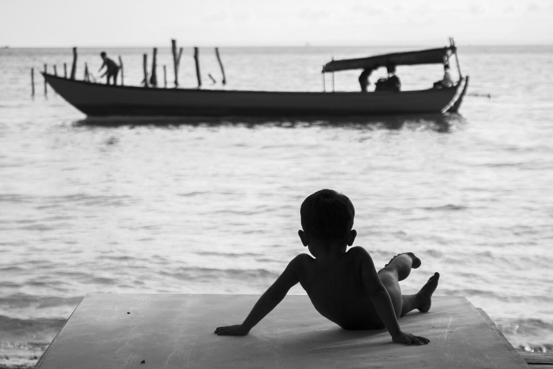 Kid at Koh Rong Island. Cambodia.
