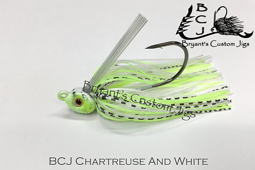 Chartreuse and White Swim Jig