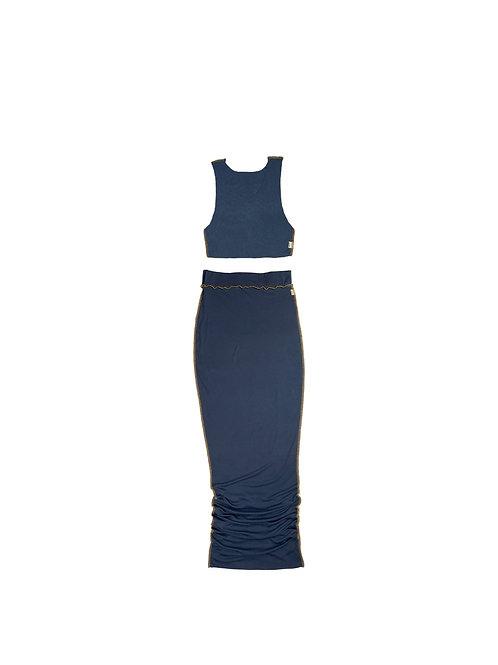 BYMJ Basic Blue Skirt Set