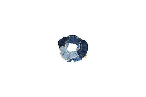 Patched Denim Scrunchie